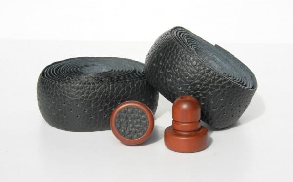 Leder Lenkerband perforiert, schwarz, nahtlos