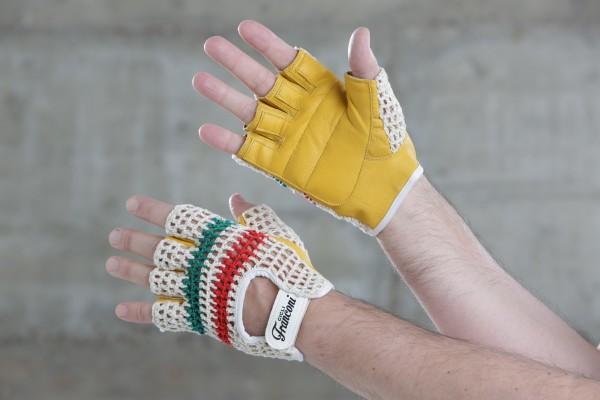 Cicli-Franconi Basic halbfinger, Baumwolle/Leder, gelb, Italia