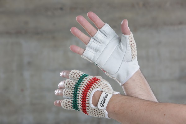 Cicli-Franconi Basic halbfinger, Baumwolle/Leder, weiß, Italia