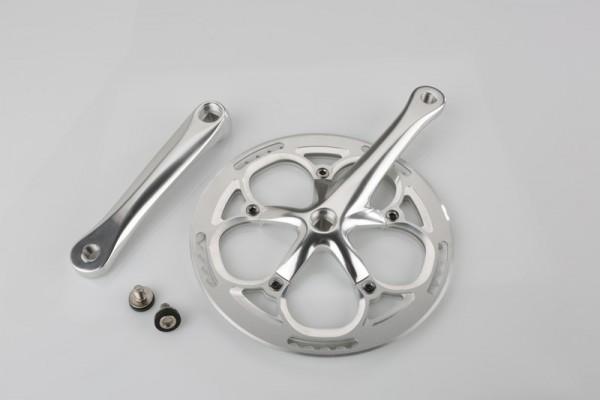 Kurbelgarnitur mit Kettenschutz, Alu, 53 Zähne, silber