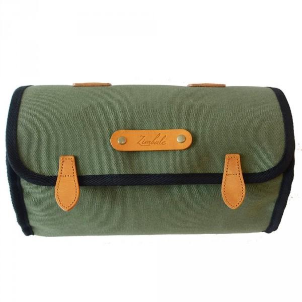 Zimbale Canvas Leder Satteltasche 3 Liter, armygreen