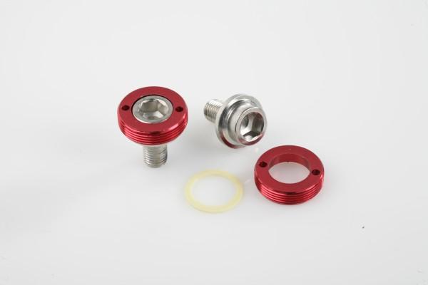 Kurbelschraube Stahl M8, Schraubkappe aus Aluminium, rot